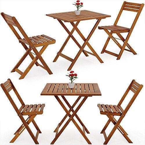 Deuba Salon de jardin pliant style bistrot avec 2 chaises et ...