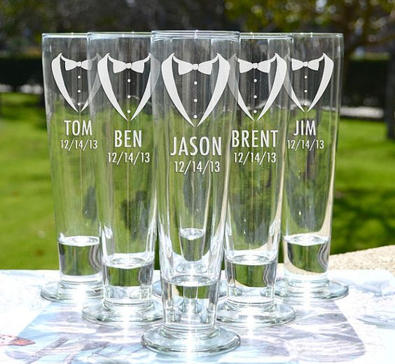 Groomsmen Gift  Tuxedo Beer Pilsner  Custom by LetsTieTheKnot, $14.95  I kind of love these :D