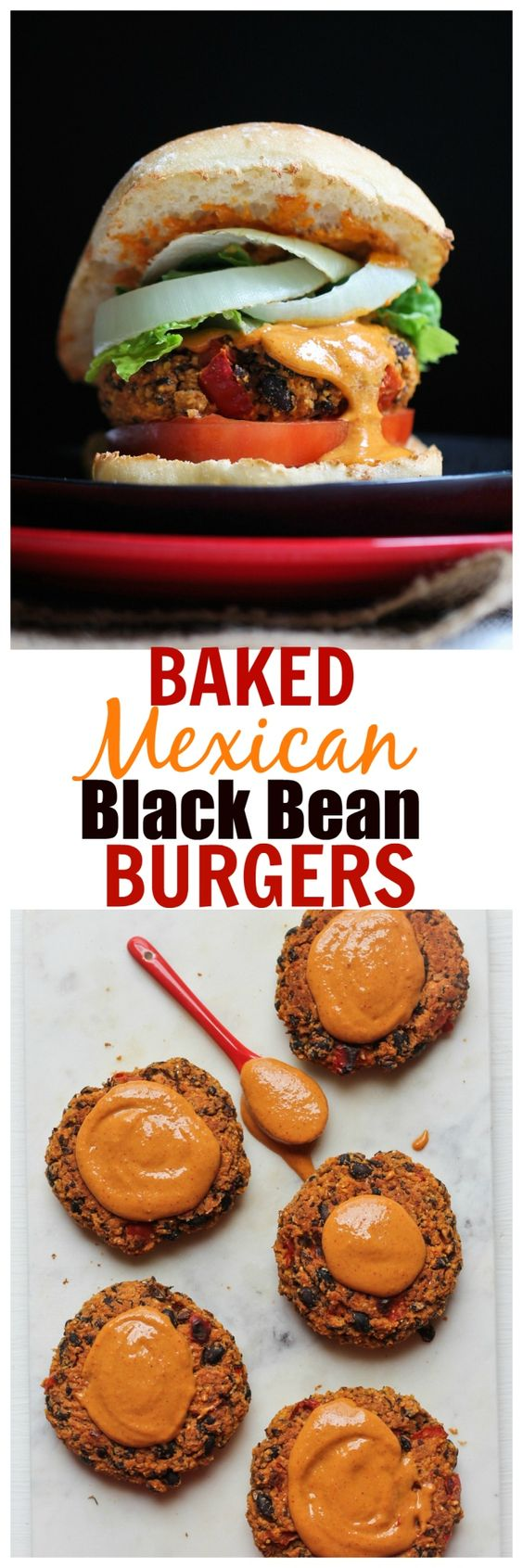 Guilt-free, oil-free, HEALTHY Baked Mexican Black Bean Burgers. One of the most popular blog recipes and a hit with everybody. Just 8 ingredients!