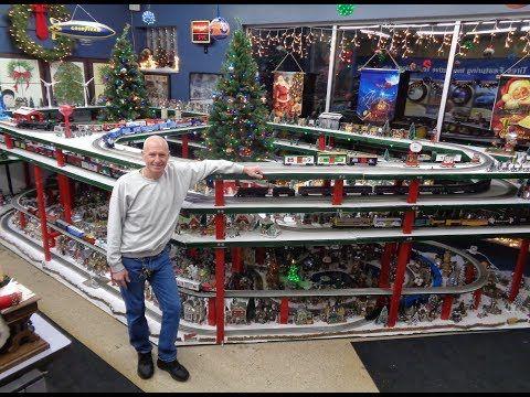 Greatest Christmas Model RR Railroad Train Layout in Tire Shop
