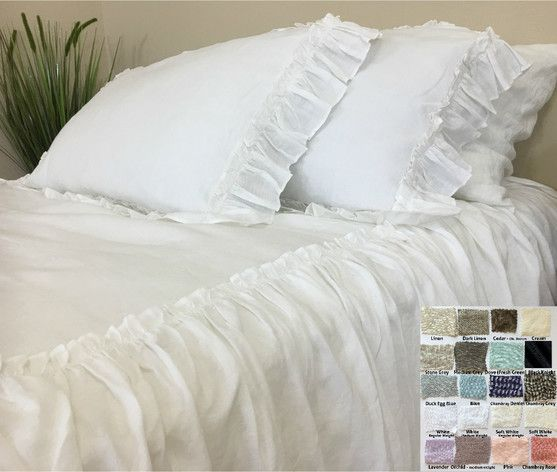 Linen Bedspread With Ruffles On Top Fabulous Multiple Color