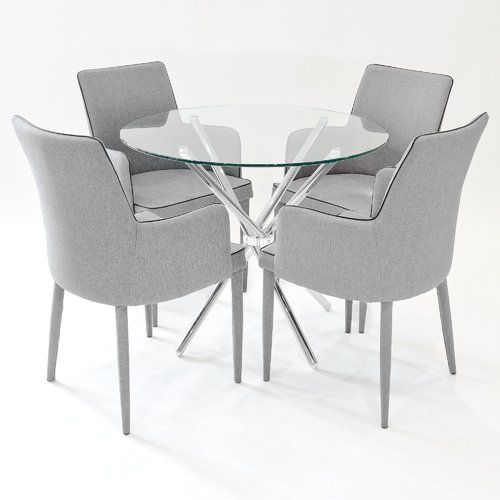 Broderick Circular Dining Set With 4 Chairs Orren Ellis Colour