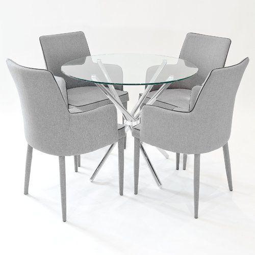 Metro Lane Broderick Circular Dining Set With 4 Chairs Round