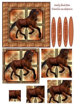 Brown Horse Card Front on Craftsuprint designed by Rhonda Brittain - This is a stunning card front of a brown horse. Ideal for many different occasions. - Now available for download!