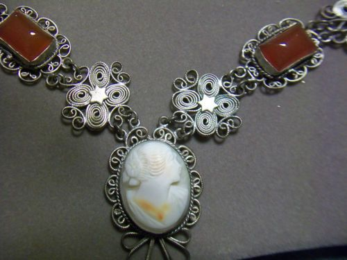 Victorian-800-Silver-Filigree-Cameo-Necklace-Matching-Bracelet-Carnelian-Cabs