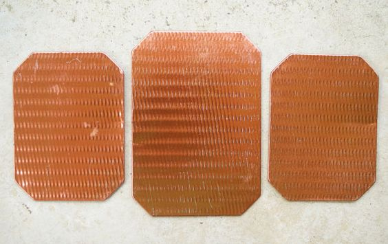 Tin Kitchen Trivets  Hot Pads  Mid Century Copper  by susantique