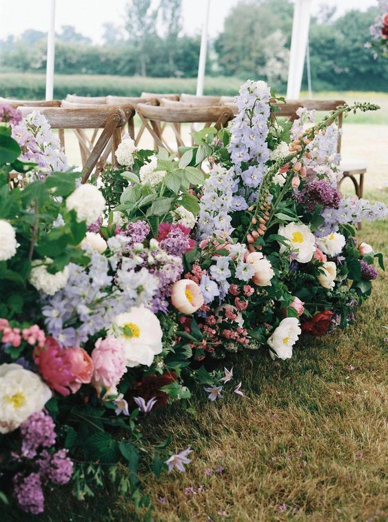 Peonies, David Austin Roses, Foxgloves & Delphiniums For A Flower Filled Marquee Wedding Bramble & Wild Florists Bride And Bridesmaids Hayley Paige #glamorouswedding #weddinginspo