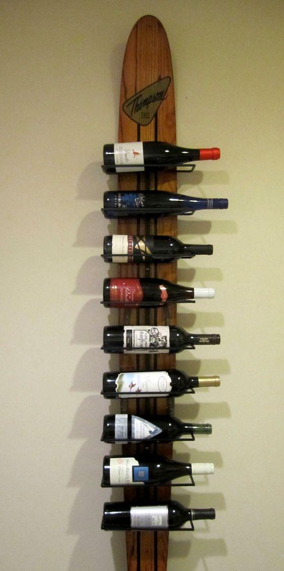 Mes bouteilles pour la montagne il faut bien ça....... 12 Great Wine Racks Made from Old Skis | RenewPurpose