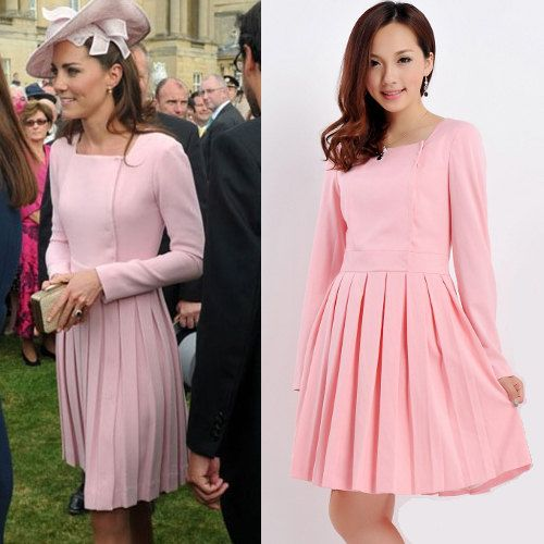 Pleated Dress/ Kate Middleton Inspired/ Pink/ Teal/ Pleated/ Square neckline/ Custom made/ Custom made dress/ 50s dress/ Garden Party Dress