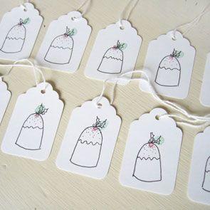 hand-illustrated Christmas pudding tags. Charlotte Macey Textiles, England. £3