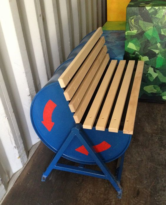 Oil Drum Upcycled Into Outdoor Public Bench on http://www.urbangardensweb.com