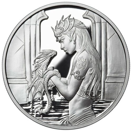 1 OZ SILVER COIN ANNE STOKES DRAGONS COLORIZED WATER DRAGON 4TH IN SERIES # COA