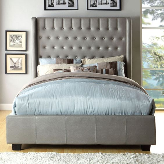Mira Contemporary Style Silver Tone Finish Bed Frame Set