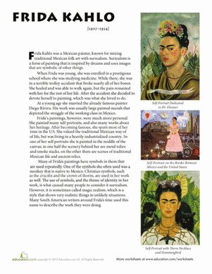 Worksheets Frida Kahlo Worksheets frida kahlo worksheets and biography on pinterest
