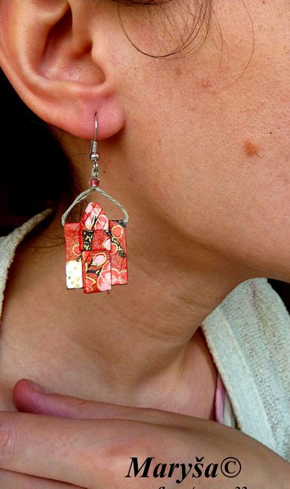 Origami Kimono Earrings Red dangling earrings Washi Paper earrings Japanese Kimonos Gifr for Her Red Earrings Kimono