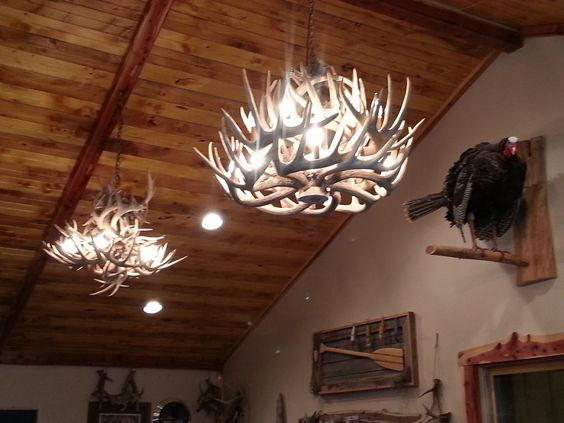 One antler chandelier wasn't enough, I had to build another one!