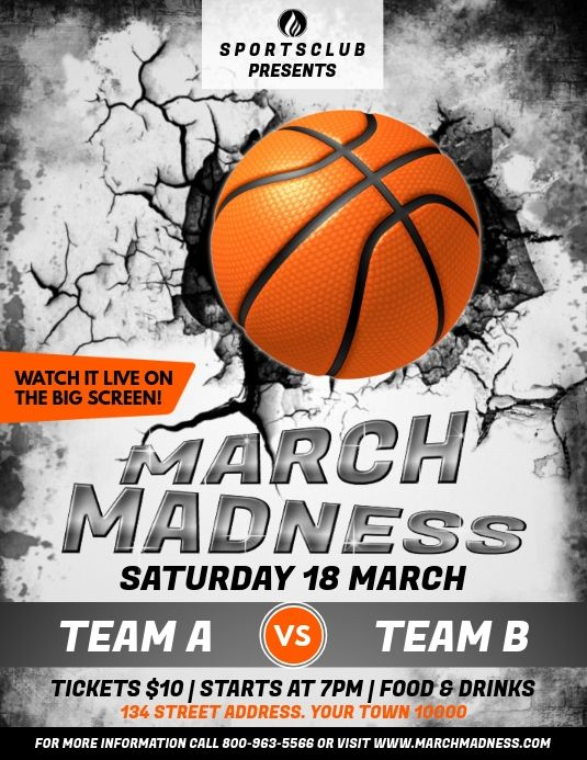 March Madness March Madness Basketball Posters Sports Templates