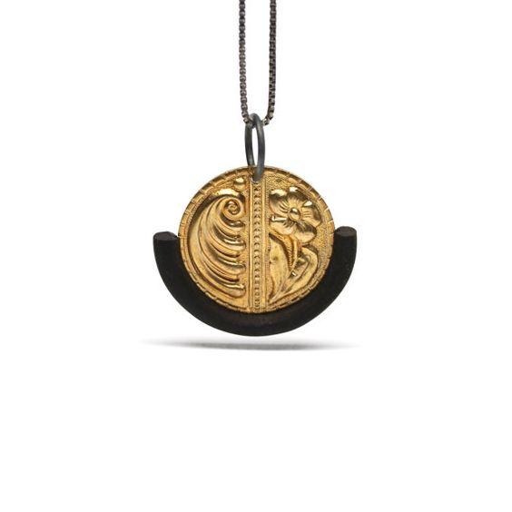 Upcycled Vintage Brass Coin Silver Necklace Ebony Ornate Black Gold - Glückstaler