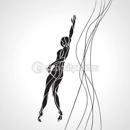 Serbest stil yüzücü kadın silueti. Spor Yüzme — Stok İllüstrasyon #94844486