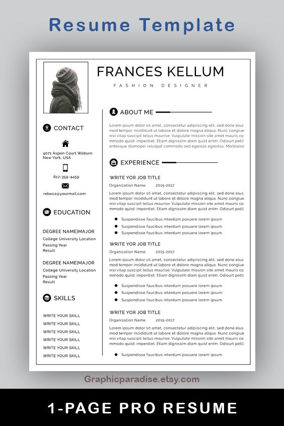 Resume Template Instant Download Professional Resume Etsy In 2020 One Page Resume Template Resume Template Professional Resume Template