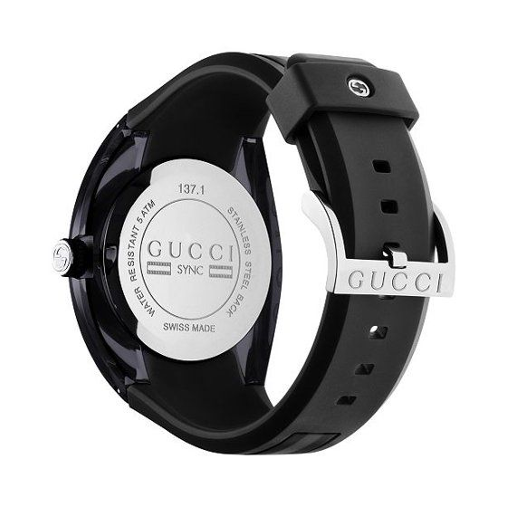 Gucci Unisex Black Swiss Sync Striped Rubber Strap Watch