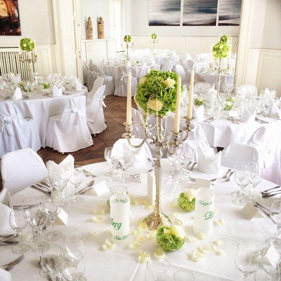 Hochzeitsdeko mit Hortensien in grün/weiß  Ideen für die Hochzeit ...