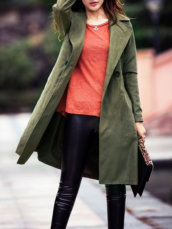 Green Plain Polyester Casual Coat