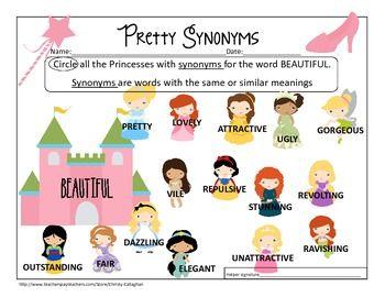pretty synonyms worksheet freebie 2nd grade reading