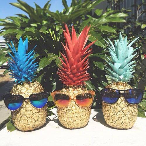 Ананасы с разноцветной ботвой в солнцезащитных очках