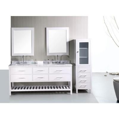 Design Element London 72 in W x 22 in D x 34 in H Vanity in Pearl White with Marble Vanity Top and Mirror in Carrara White-DEC077B-W at The Home Depot