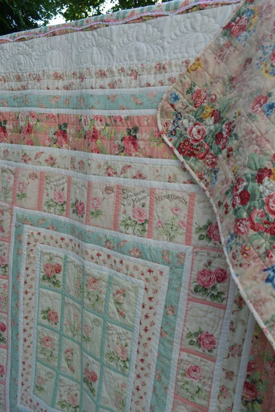 Handmade Cottage Quilt Heirloom Shabby by TrueloveQuiltsForYou