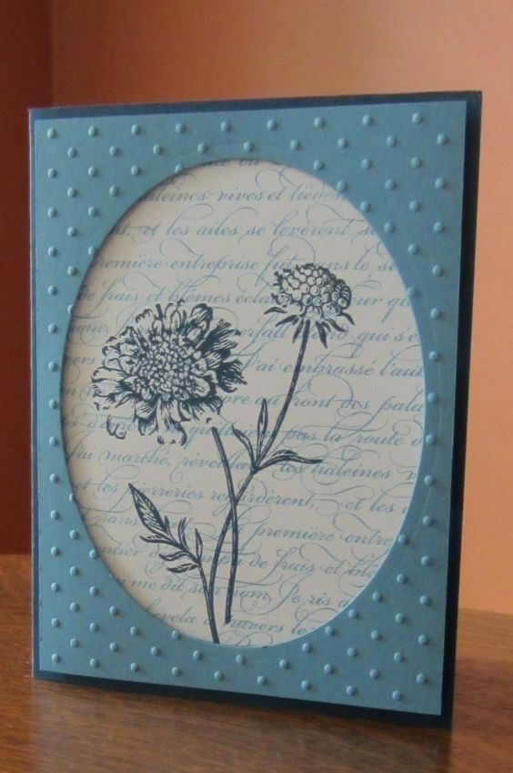 Stampin Up Field Flowers and French Script stamps, with Marina Mist and Midnight Muse card stock.