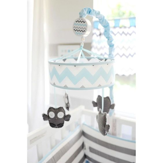 My Baby Sam Chevron Baby Mobile Aqua/Gray, Blue/Grey