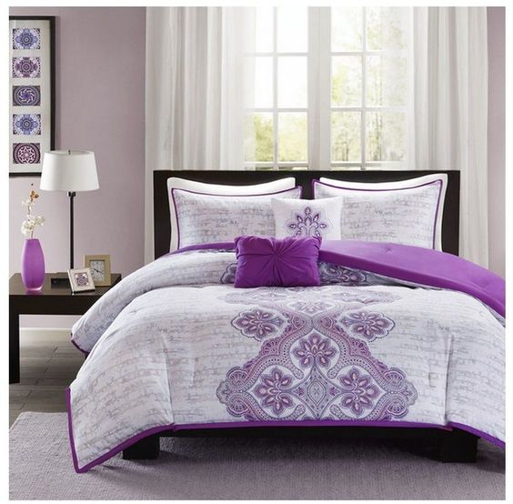 details about new bed bag twin xl full queen 5 pc purple gray grey medallion comforter set nwt. Black Bedroom Furniture Sets. Home Design Ideas