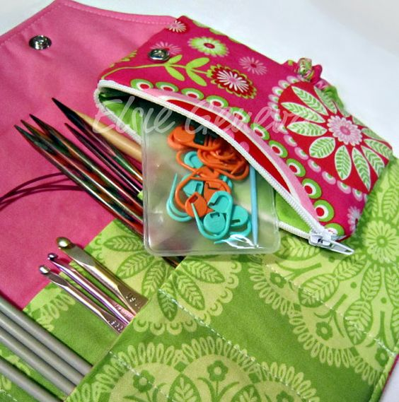 Handmade knitting needle bag