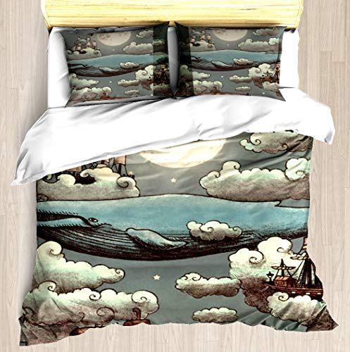 Kangsea Ocean Meets Sky Duvet Cover Set Unique Printed Exclusive Designed Pattern Comforter Bedding Cover Pil Bed Duvet Covers Bed Comforters Duvet Covers Twin
