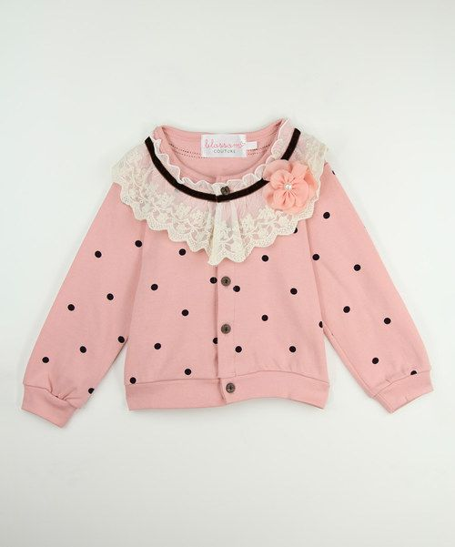 Look at this Pink Polka Dot Lace Collar Cardigan - Toddler & Girls on #zulily today!