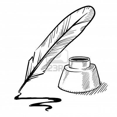 quill and ink pot with ink trail   Blogging/Business Stuff ... Quill And Ink Pot Image