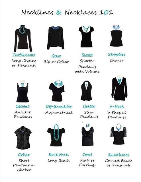 El collar correcto al tipo de cuello de blusa