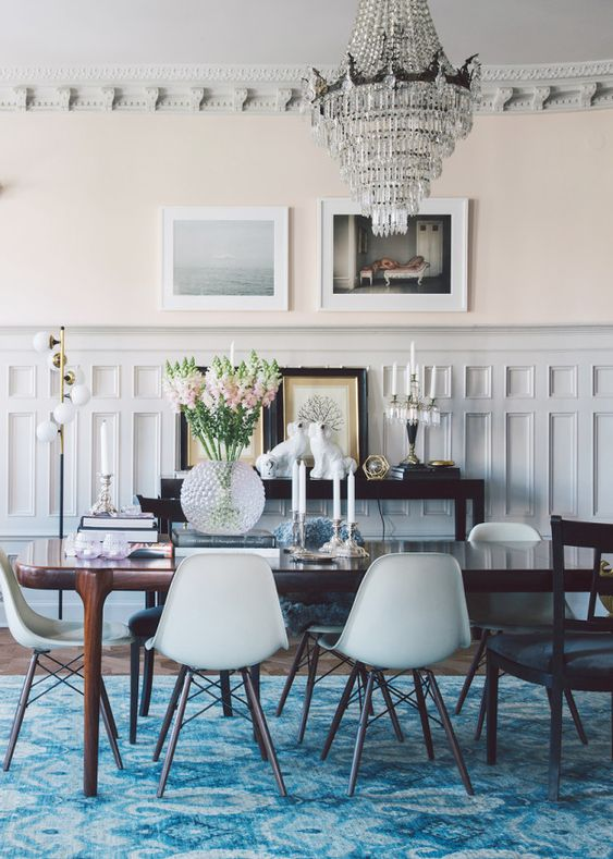 #roomoftheweek a glam, pink and blue dining room | via coco+kelley