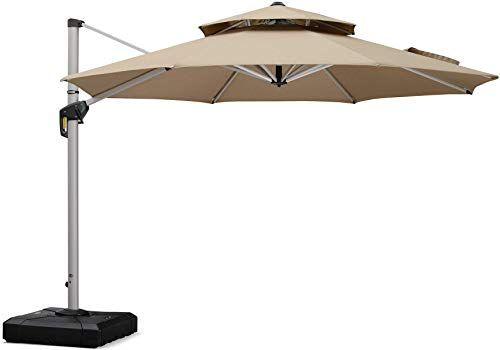 Amazing Offer On Purple Leaf 11 Feet Double Top Deluxe Sunbrella Patio Umbrella Offset Hanging Umbrella Cantilever Umbrella Outdoor Market Umbrella Garden Umbre Outdoor Wicker Chaise Lounge Outdoor Wicker Patio Furniture