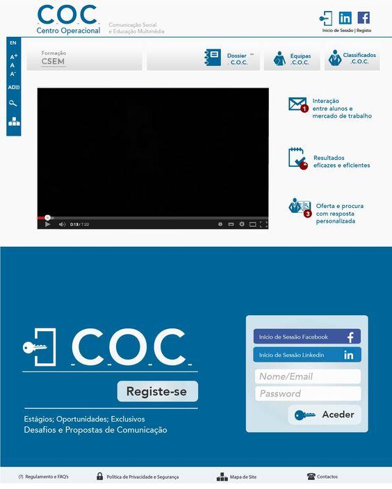 No âmbito da UC de Estética Multimédia, este pin é a Maquete estática da página principal [home] do website .C.O.C.