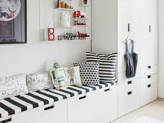 Bänkförvaring till köket  IKEAs STUVA-serie  Stommar med höjd 50 alt 64 http://mommo-design.blogspot.it/2014/04/ikea-hacks-for-kids.html?m=1: