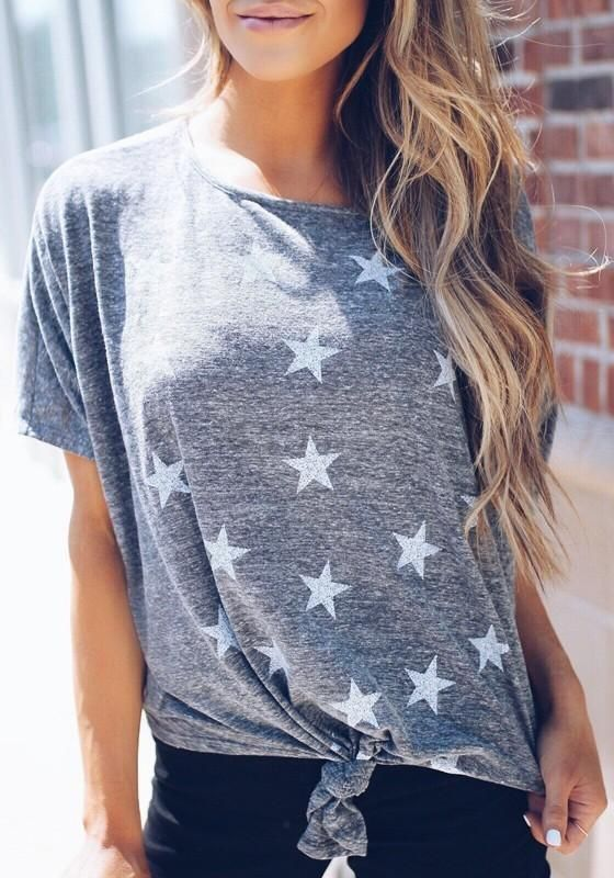 Grey Star Print Knot Round Neck Going out Casual T-Shirt