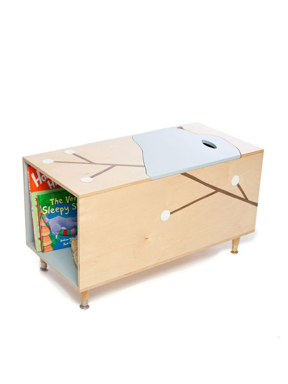 The Maude Toy Box With Book Cubby - Mod Mom Furniture   Gilt