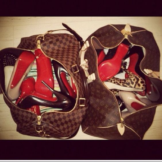 christian louboutin rolling spikes - Louis Vuitton bag full of Christian Louboutins | Shoes to wear ...