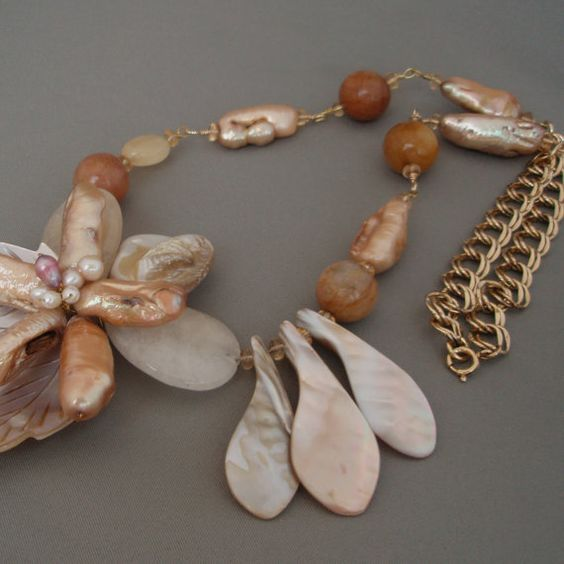 Mother of Pearl Statement Necklace by celestialdesignsNY on Etsy, $58.00
