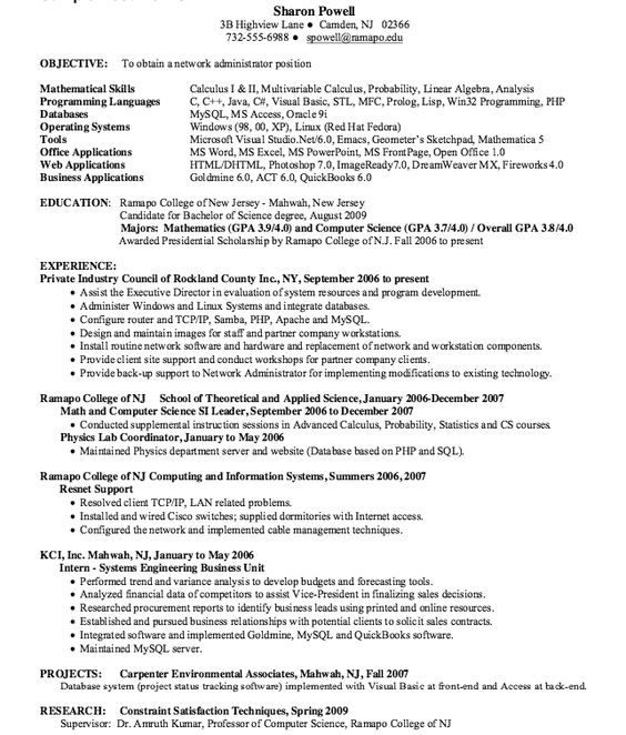 Professional Network Administrator Resume Sample -   - network administrator resume sample