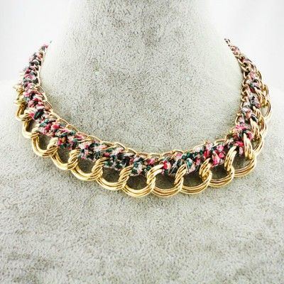 $4.93USD , Euramerican Style Rope Woven Necklace Colorful Double Chain Necklace Wholesale Jewelry