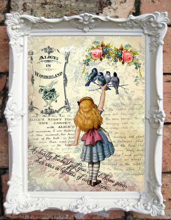 ALICE in Wonderland Art Print. Alice in by OldStyleDesign on Etsy